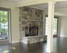 Grey Multi River Rock Fireplace